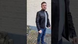 Sort plus size herre skindjakke - Lammeskind - Moltan video