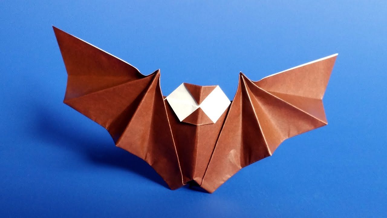 Easy Origami Bat Tutorial For Halloween Youtube Peacock Diagram