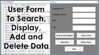 excel VBA UserForm Search, Display, Add and Delete Data - Advanced UserForm Example