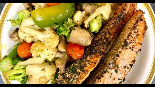 Salmon steak with broccoli and…