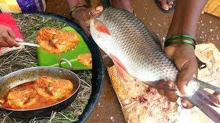 Fresh Live Carp Fish Cutting Segments Skills | Carp Fish Gravy Recipe by Aunty | Big Fish World thumbnail