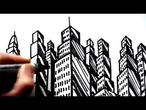 How To Draw Buildings Skyscrapers YouTube