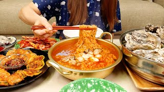 ASMR MUKBANG :) OYSTER PARTY!! (Raw oyster, steamed oyster, fried oyster, Oyster noodles, kimchi)