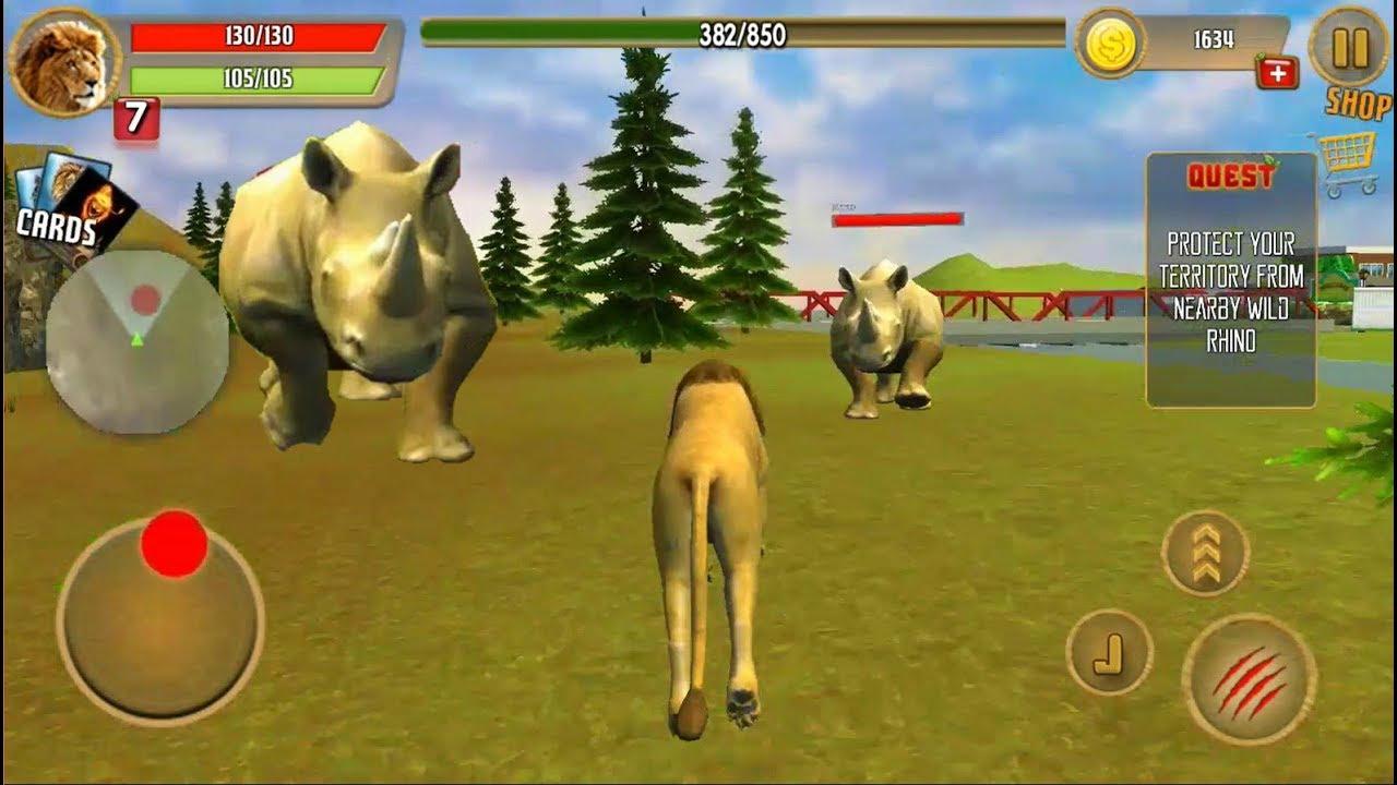 ► Lion Revenge Simulator City Revenge -The king of Jungle vs Rhino (Best  animal games)
