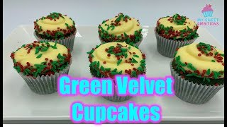 Green Velvet Christmas Cupcake -  mysweetambitions