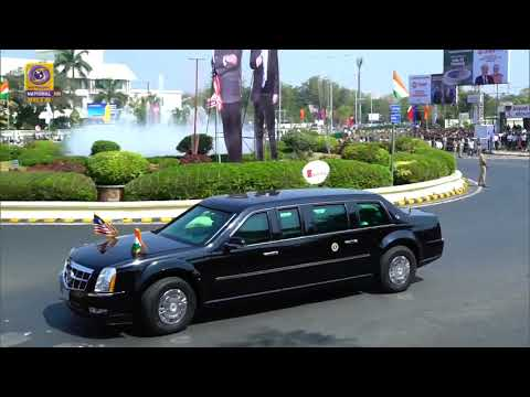 US President Donald Trump Road Show : Ahmadabad Airport to Motera Stadium with Halt at Sabarmati