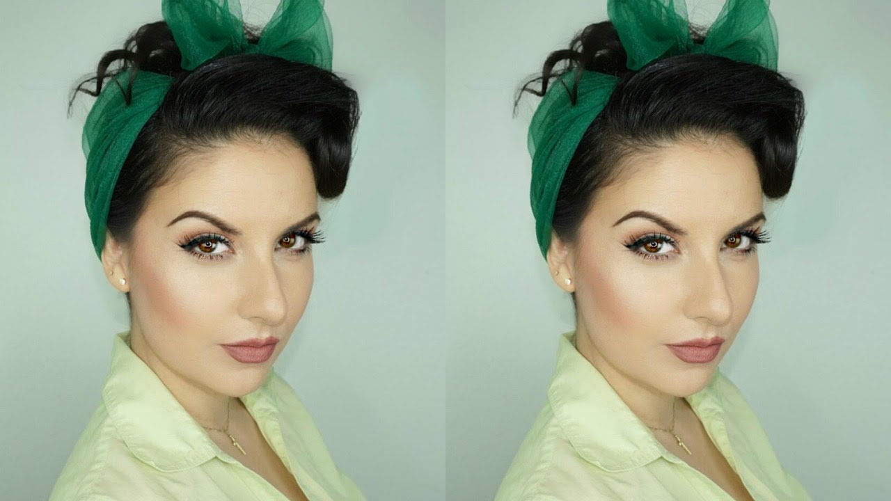 How To Create A Pinup Hairstyle With Scarf For Long Hair Nena