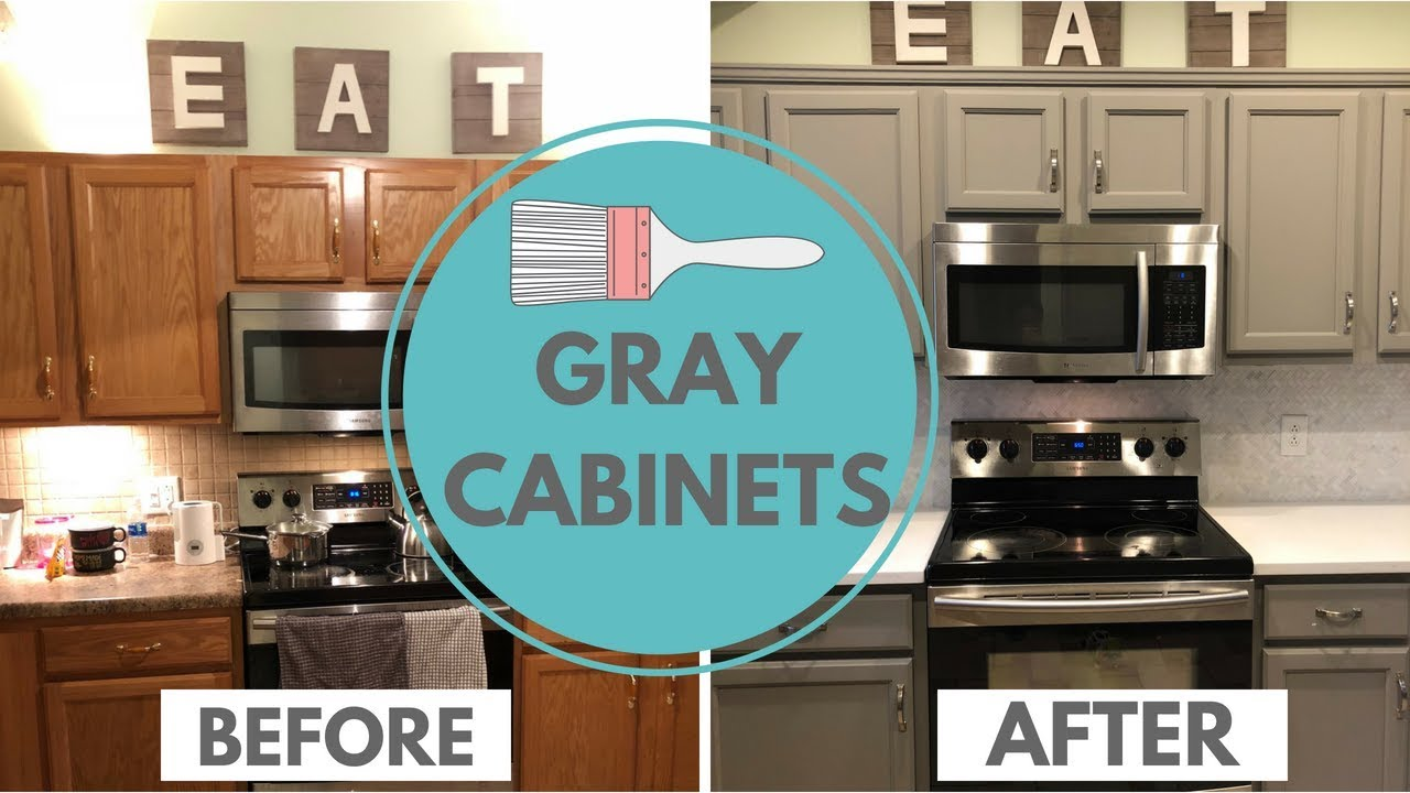 Painting Gray Kitchen Cabinets Kitchen Renovation Youtube