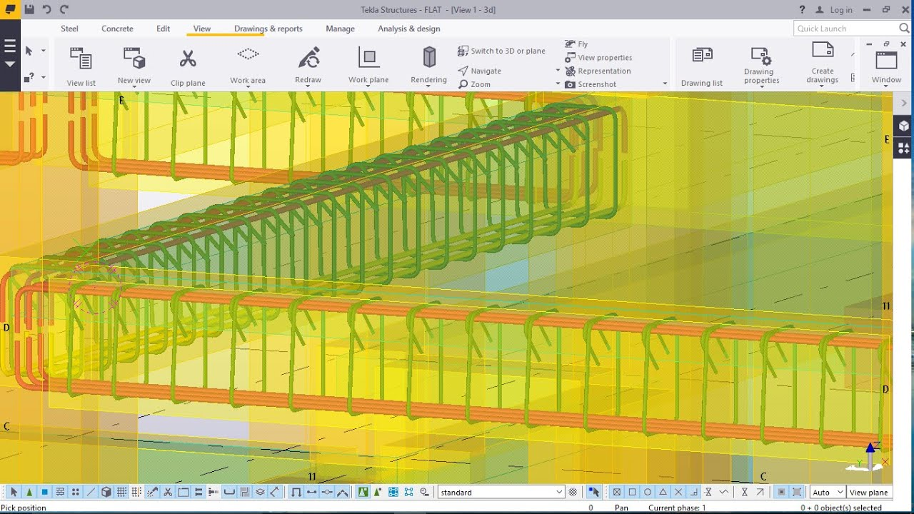 Rebar Placement on Beams on R.C.C. Modelled Structure in TEKLA ...