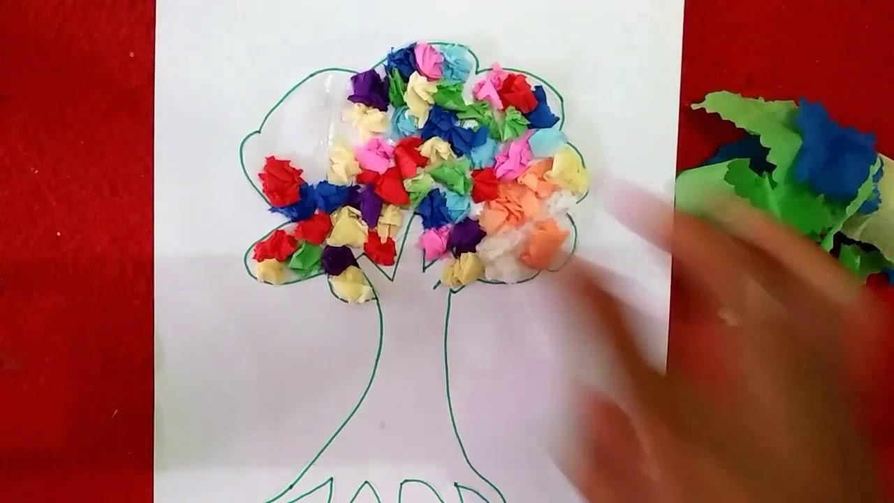 Kolase gambar pohon dengan kertas krep Nida craft - YouTube 9c91ee5eba
