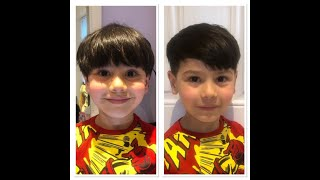 Learn how to cut a boys haircut leaving it longer on top - curtains look