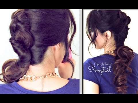 ★-everyday-french-twist-around-ponytail-hairstyle-|-cute-updos-for-medium-long-hair-tutorial
