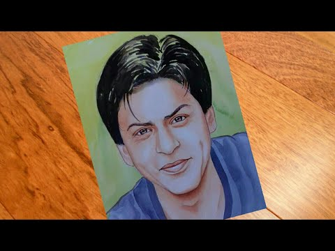 Portrait painting of actor Saharukh khan by water colour