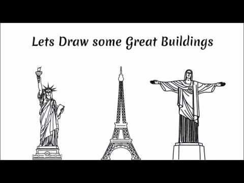 Draw Eiffel Tower Statue of liberty and Rio Statue