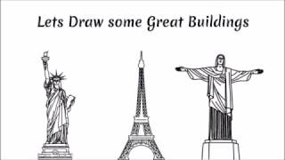 Draw Eiffel Tower, Statue of liberty and Rio Statue