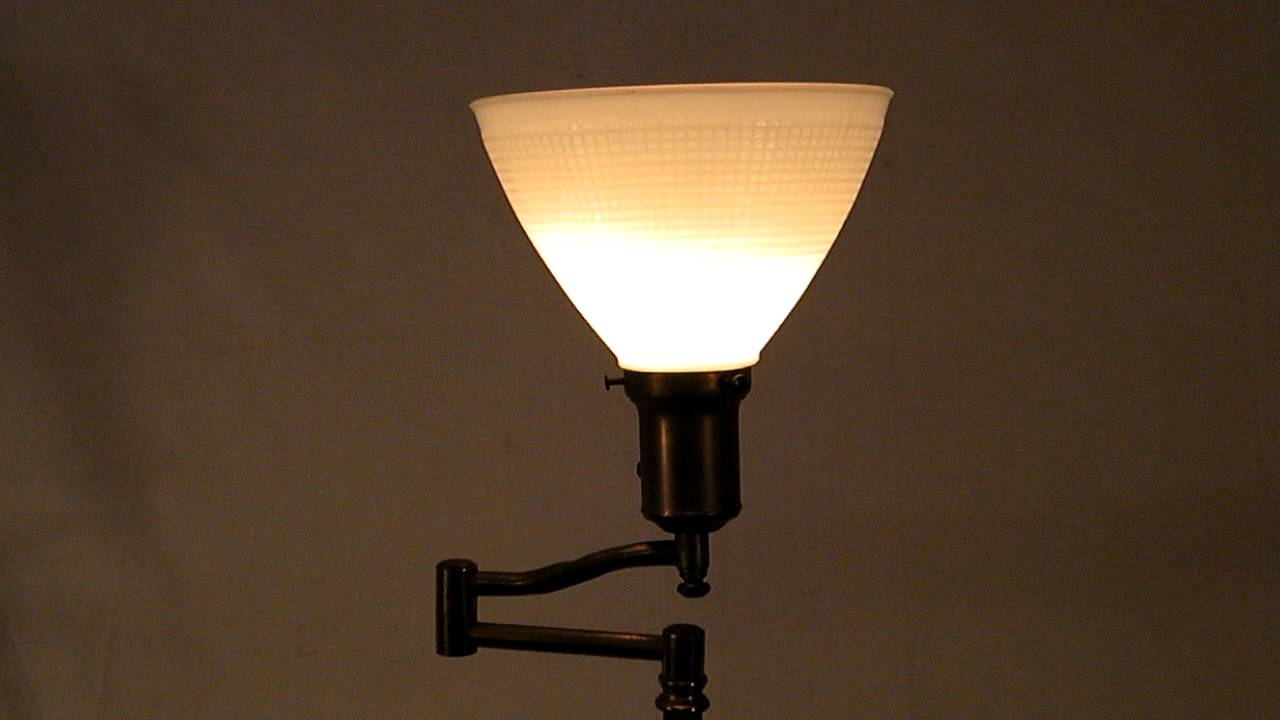 ANTIQUE BRASS SWING ARM MILK GLASS FLOOR LAMP - YouTube
