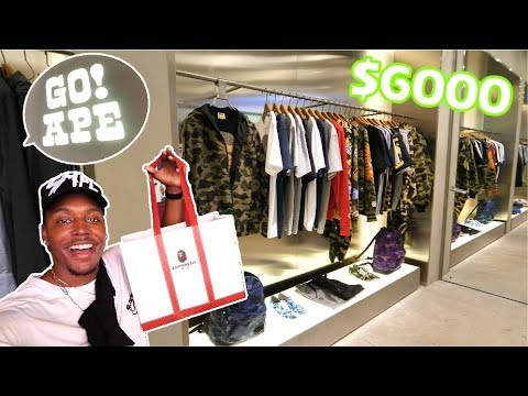 I SPENT $6000 ON THIS!? MY FIRST TIME EVER SHOPPING AT BAPE! HYPEBEAST CLOTHING HAUL!