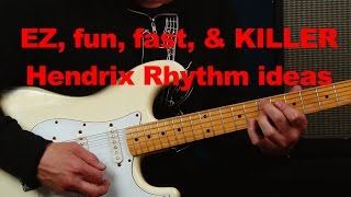 EZ and fun Jimi Hendrix inspired blues rock Rhythm ideas riffs licks scales