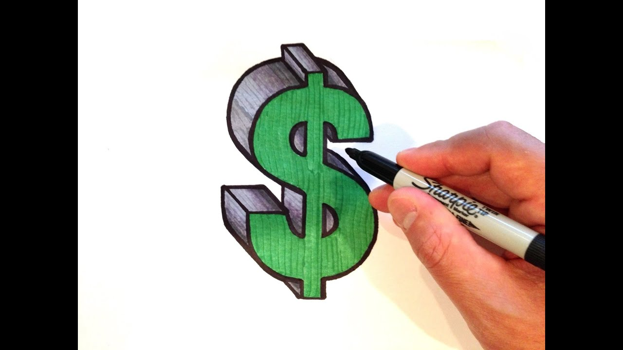 Draw Dollar Sign In 3d