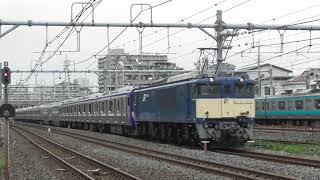 E235系1000番台クラF 02編成新津出場配給与野駅付近通過