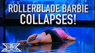 DRAMA As Rollerblading Barbie Impersonator FAINTS During Audition! | X Factor Global