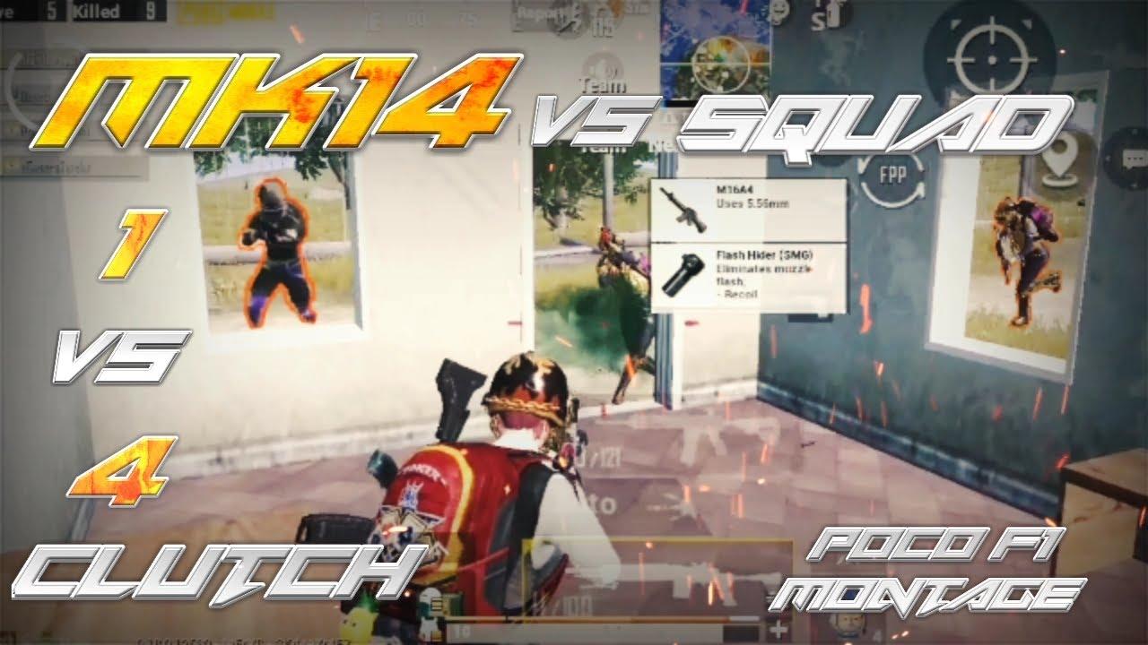 MK-14 vs Squad | 1 vs 4 Clutch | PUBG MOBILE Montage | POCO F1