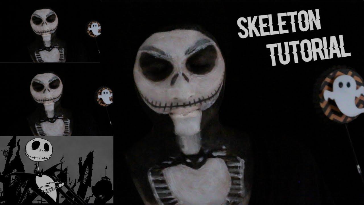 Skeleton Halloween Makeup Tutorial+Body Paint(FULL)! ♡ Nightmare ...