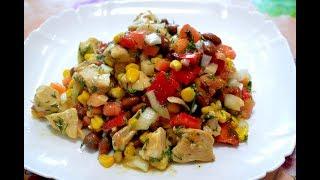 Салат без майонеза с пикантным соусом./Salad without mayonnaise.