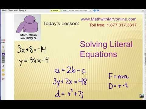 Literal Equation Math Definition