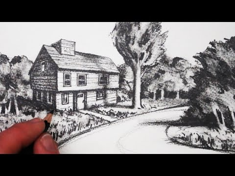 How to Draw a House in 2-Point Perspective in a Landscape