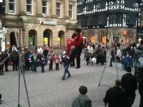 Irish tightrope walker in Chester, England