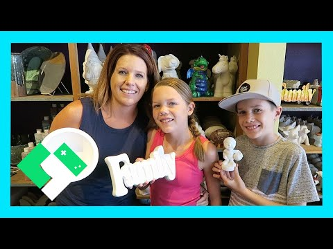 FUN FAMILY POTTERY PAINTING (Day 1560) | Clintus.tv