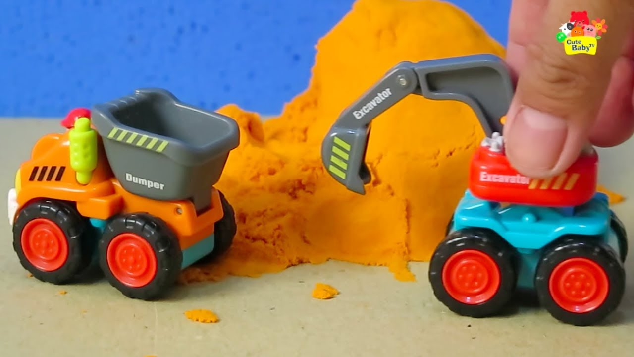 Playing Mini Car Dumper Truck Build Roads and Bridges | Cute Baby TV