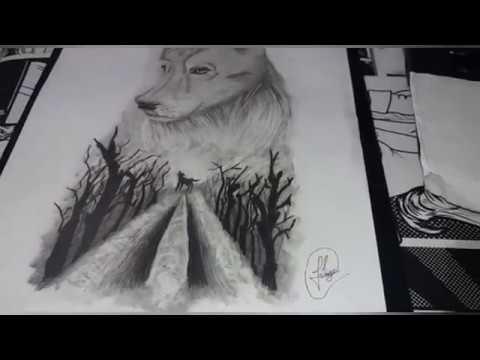 Desenho Timelapse Lobo Realista E Floresta Sombria Youtube