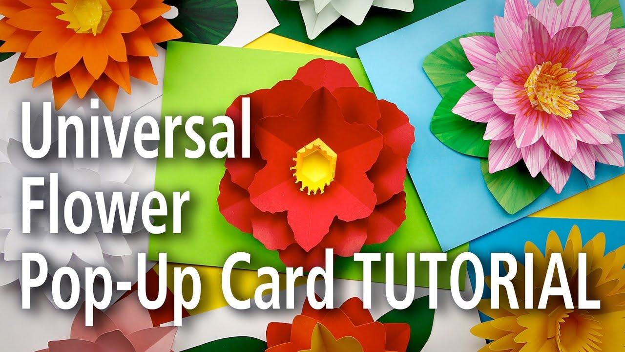 Universal Flower Pop Up Card Tutorial Youtube