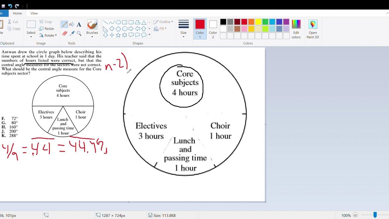 Act prep circle graph w sector angles youtube act prep circle graph w sector angles ccuart Images