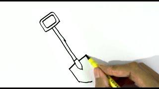 How to draw a shovel    easy steps for children, kids, beginners