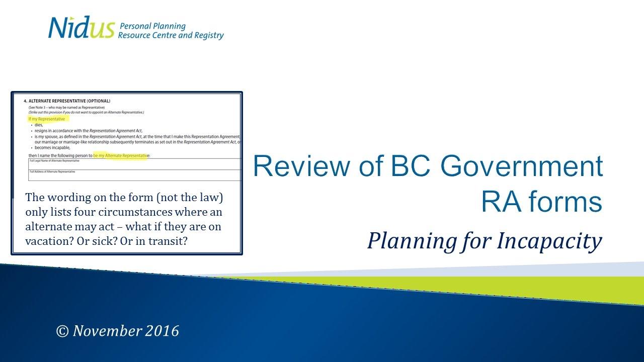 Nidus Reviews Bc Govt Representation Agreement Forms Youtube