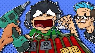 4 Idiots & A Bomb, Grenade Fails! - Hand Simulator Funny Moments!