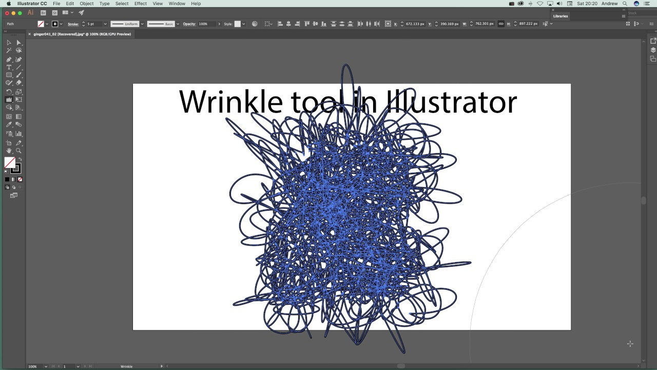 Illustrator wrinkle tool tutorial (and deform paths etc) how-to-use guide