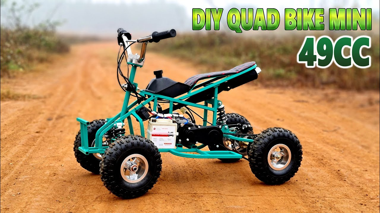 Build a Mini Quad Bike at home - Using 2-Stroke 49cc Engine - Tutorial