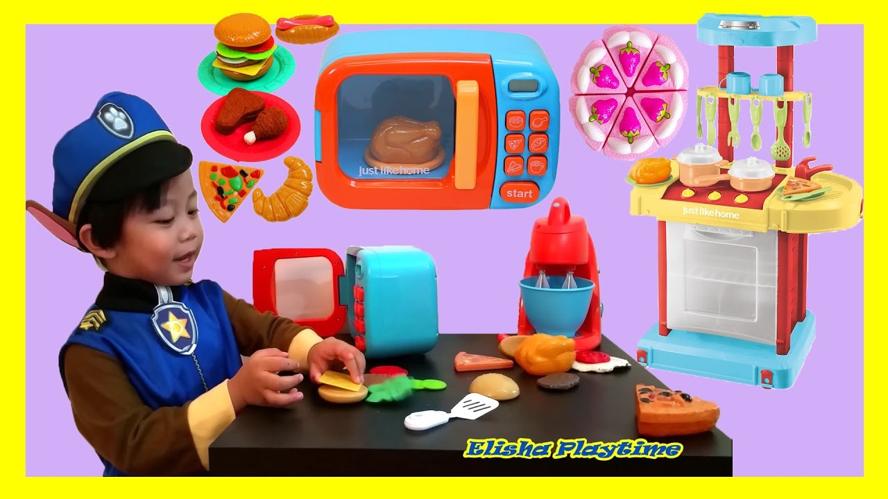 Just like home microwave toy cooking set kitchen playset for Kitchen set video song