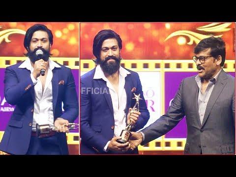 KGF Yash Dynamic Speech After Winning Best Actor Award From Megastar Chiranjeevi
