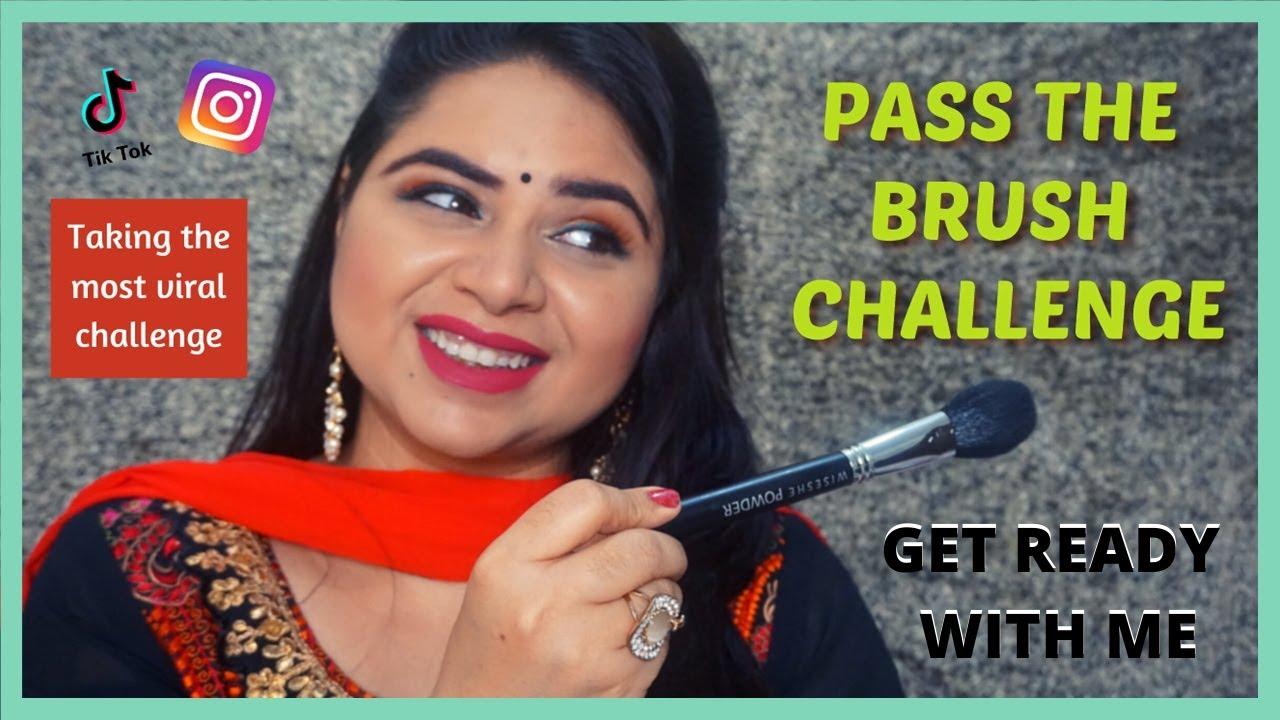 Pass The Brush Challenge Simple Indian Makeup Tutorial Trending Tiktok Challenge Video Bloopers Youtube