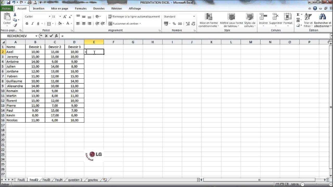Prise En Main Du Tableur Excel