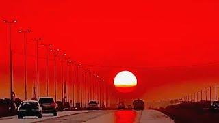 غروب الشمس الناري في السعودية ، الرياض! هل يدل على طقس غير عادي قادم ؟