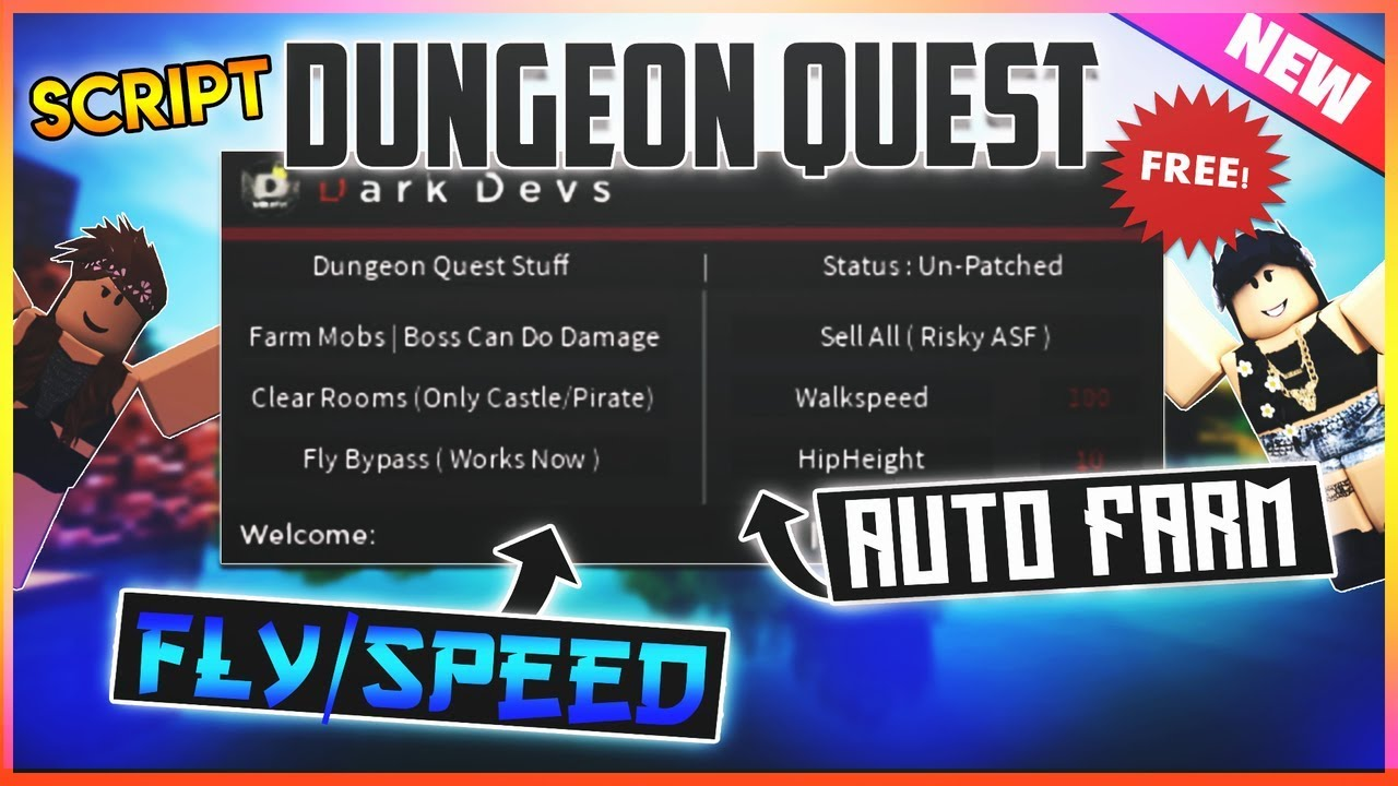 ✔️NEW✔️ROBLOX SCRIPT - DUNGEON QUEST - GUI FARM DUNGEON, FLY BYPASS,  UNPATCHED