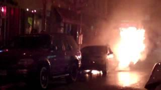 A Car Burns in Williamsburg Brooklyn