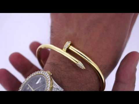 0.50 Carat Twisted Nail Bracelet Cartier Style 10k Solid Gold Thick 55 Grams Yellow Gold ASAAR
