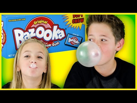 BAZOOKA GUM CHALLENGE #1! BIGGEST BUBBLE & RAP BATTLE! IDEA BY PLP TV